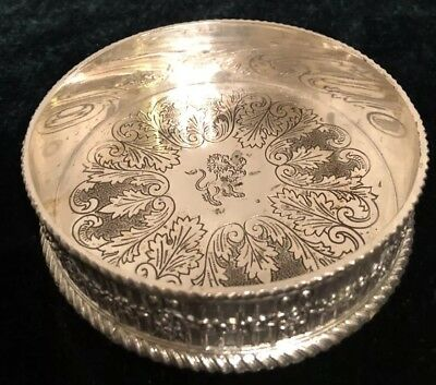 Silver Coaster Product Of Japan has Silver. With Two Line Stamp