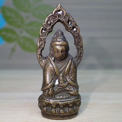 Buddha Phra Kring Brass Statue Thai Amulet Old Wealth Lucky Rare Figure 54 mm