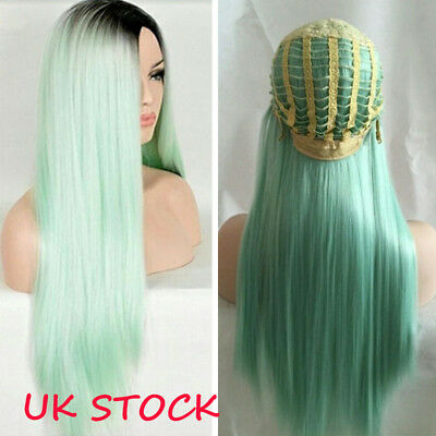 28''  Synthetic Straight Long Wigs Ombre Mint Green Hair Cosplay Sexy Wigs Women