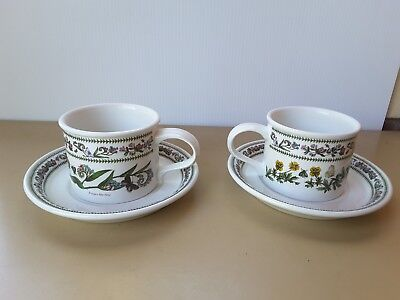 TWO CUPS SAUCERS Portmeirion VARIATIONS  ENGLAND