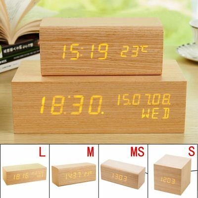 Luminous Digital LED Wood Alarm Clock Voice Control Timer Thermometer