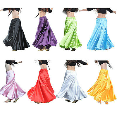 Women Lady Satin Long Skirt Swing Belly Dance Costumes Tribal Flamenco Jupe AU