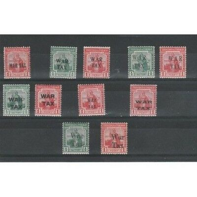 Trinidad And Tobago 1917-18 Taxes Of War Soprastampe Different 11 Val Mnh Mf5480
