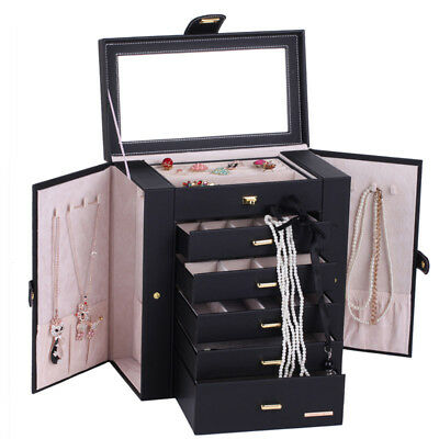 Large Jewellery Storage Boxes Mirror Organizer Rings 6 Layers Display Case Gifts