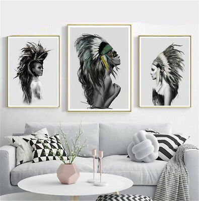 Art Canvas Painting Native American Indian Feather Print Modern Home Wall Decor