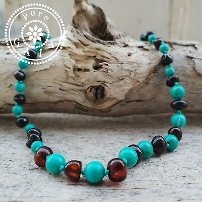 BALTIC AMBER Baby Child NECKLACE Certified Turquoise & Amber