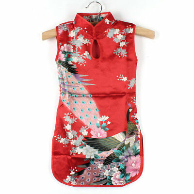 Chinese Retro Kid Child Girl's Baby Peacock Cheongsam Dress  Qipao 2-8Y Clothes