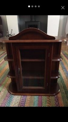 Vintage small wall mounted wooden and glass display cabinet