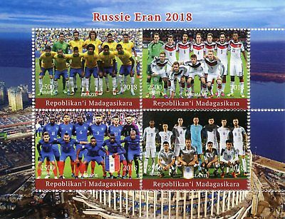 Madagascar 2018 CTO World Cup Football Russia Germany England 4v M/S Stamps