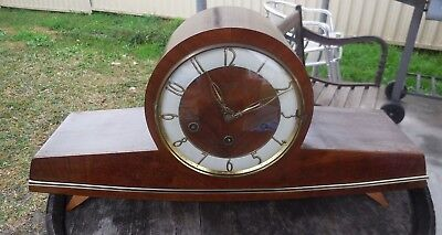 Urgos German Antique mantel clock retro complete with key and pendlum