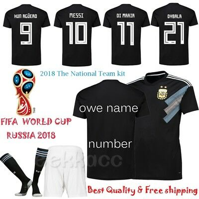2018 Black Football Jersey Kit Boy Kids Soccer Suit Short & Shirt & Socks Youth