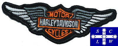 """Motorcycle Embroidered Patch """"Harley Davidson"""" Wings 11.5cm x 4cm"""