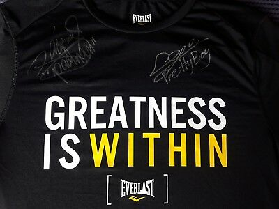 Manny Pacquiao and Jerwin Ancajas  dual Hand signed original  Everlast T Shirt