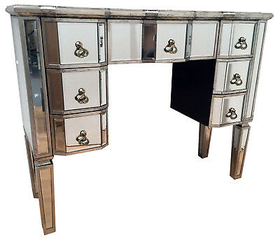 Vintage Style Mirrored Glass Kneehole Dressing Table 7 Drawers Desk Home Decor