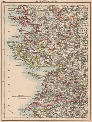 IRELAND WEST COAST. Galway Mayo Clare. River Shannon. JOHNSTON 1906 old map