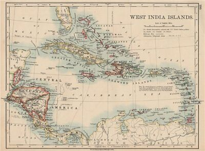 WEST INDIA ISLANDS. Caribbean Lucayas Caribbee Cuba. JOHNSTON 1906 old map