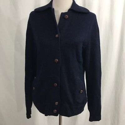 Vintage Shapely Knits Navy Blue Cardigan Sweater with Faux Bois Wood Buttons  L