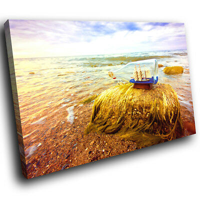 SC739 Retro Blue Ship Bottle Cool Landscape Canvas Wall Art Large Picture Prints