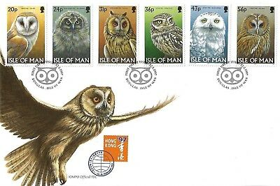 I O M 1997 Owls Set First Day Cover
