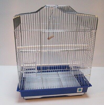 Sarah Large Metal Bird Cage for Budgie Canary Perches Feeders - White or Chrome