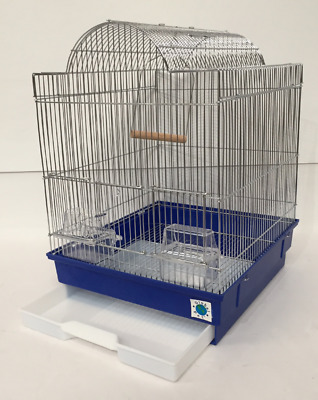 Patti Chrome Large Bird Cage for Budgie Canary Seed Tray Perches Feeder Swing