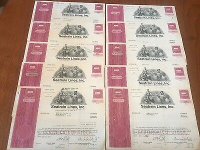 "Wholesale Lot of 10 Seatrain Lines Railroad Stock Certificate ""Red"""