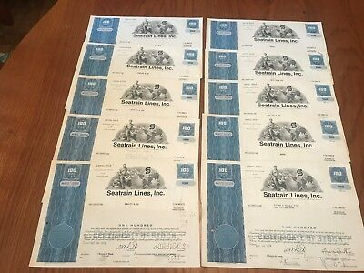 "Wholesale Lot of 10 Seatrain Lines Railroad Stock Certificate ""Blue"""