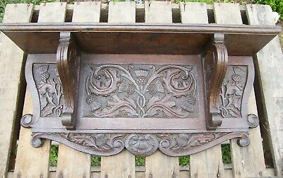 A Large Reclaimed Carved Oak Scottish Thistle Wall Bracket Corbel Shelf