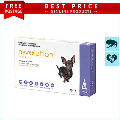 REVOLUTION for Dogs 2.6 to 5 Kg PURPLE 6 Doses + Canex Flea Heartworm Control