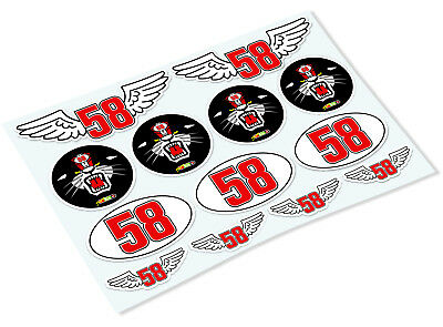 MARCO SIMONCELLI STICKER SHEET Classic Retro Car Motorcycle Decals Stickers