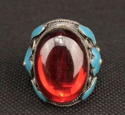 OLD MIAO SILVER CARVED FLOWER INLAY RED ZIRCON LOVE RING a02