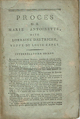 RARE 1793 TRIAL of MARIE-ANTOINETTE - French pamphlet published at the time