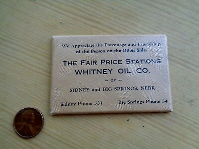 Vintage Gas Pump Station Pocket Mirror Whitney Oil Co Sidney & Big Springs Nebr