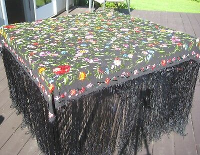 Vintage embroidered shawl scarf silk[?] floral on black with long fringe lovely