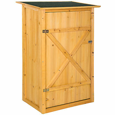 Wooden outdoor garden cabinet utility storage tools XXL shelf box shed flat roof