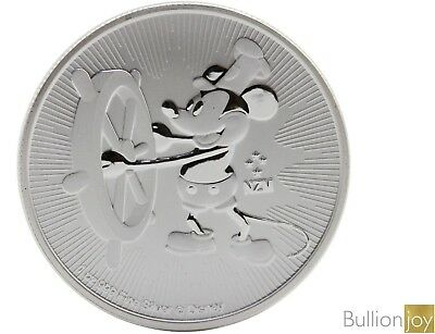 2017 1 oz Steamboat Willie Silver Coin Disney 1 ounce Silver Bullion Coin unc: