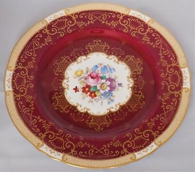 Beautiful Large Crown Staffordshire Cabinet Plate Ruby Gold Floral