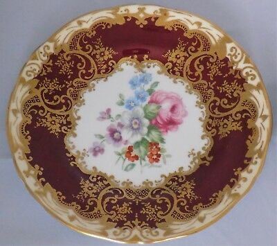 Stunning Crown Staffordshire Cabinet Plate Signed J T Jones Ruby / Gold / Floral