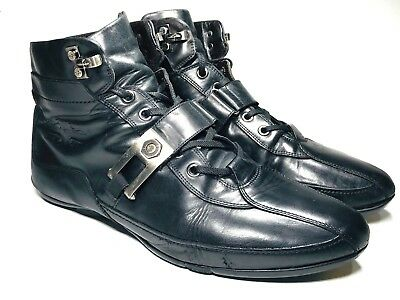 187d4b4880d4 Cesare Paciotti Hightop Leather Sneakers Mens 8 Black Shoes 2444 Moto Boots  41
