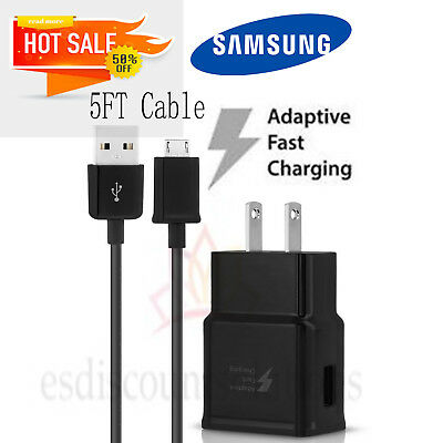 OEM Fast Rapid Wall Charger For Samsung Galaxy S6 S7 Edge Note4 Note5 5 Ft Cable