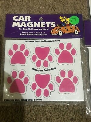 NEW- Mini Dog Paw Magnets (Set of 6) - Pink  - Car, Refrigerator, More