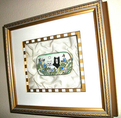 """VINTAGE ENAMEL PILL BOX  """"CATS in the GARDEN""""  Limited Edition/Special Framing!"""