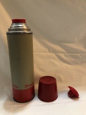Vintage Hiawatha Metal Quart Size Thermos With Lid - Cup