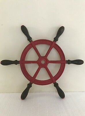 Vintage Durkee Ship's Wheel WWII Tug boat Cast Iron & Wood Great Decor Piece