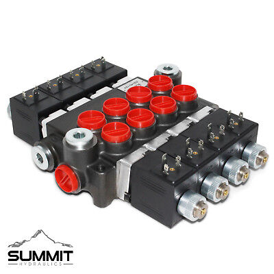 Hydraulic Monoblock Solenoid Directional Control Valve, 4 Spool, 13 GPM, 12V DC