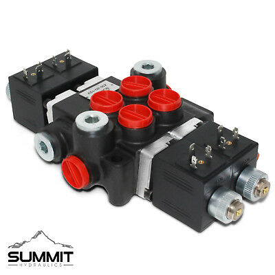 Hydraulic Monoblock Directional Solenoid Control Valve, 2 Spool, 13 GPM, 12V DC