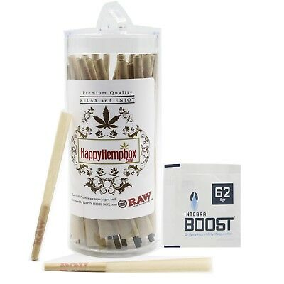 RAW Classic Lean Size Pre-Rolled Cones 100 Pack With Free pack of Integra Boost