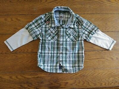 Baby Gap Outdoor Toddler Boys Size 3 Long Sleeve Button Down Front Shirt Plaid