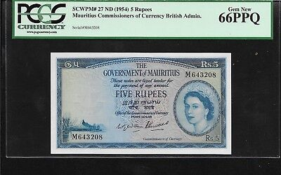 British Mauritius  Queen 1954  5 Rupees  PCGS 66  Gem UNC $1000 value