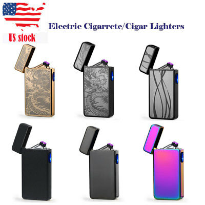 USB Rechargeable Lighter Dual Arc Windproof Flameless Cigarettes Plasma Lighters